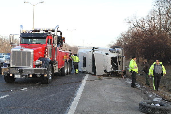 Skokie Fire Rolled Over Semi edens North Of Dempster