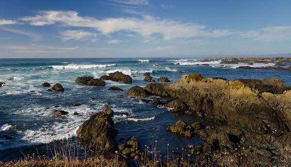 california; glass beach; mackerricher state park; ocean; west coast Peering into the waves.