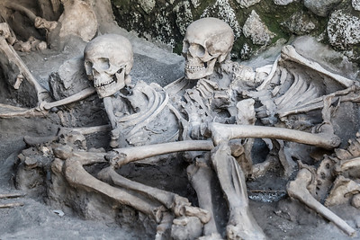 Skeltal remains at Herculaneum in the shadow of Mt. Vesuvius, Italy