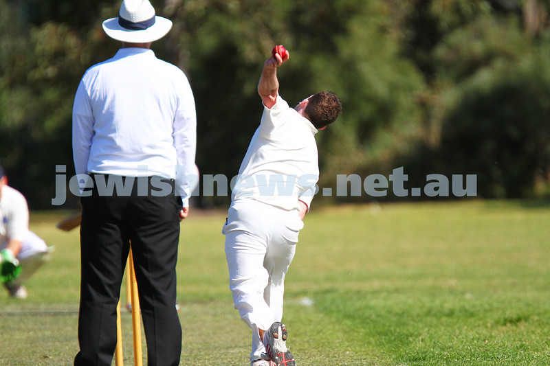 5-10-14. Maccabi AJAX Cricket First XI  5/170 def Power House all out 120 at David Mandie Oval. Mark Shnider 102 not out. Yossi Herbst 5/33. Alan Goldstein bowling. Photo: Peter Haskin