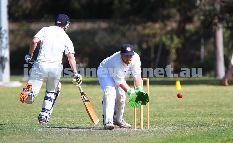 5-10-14. Maccabi AJAX Cricket First XI  5/170 def Power House all out 120 at David Mandie Oval. Mark Shnider 102 not out. Yossi Herbst 5/33. Mark Shneider. Photo: Peter Haskin