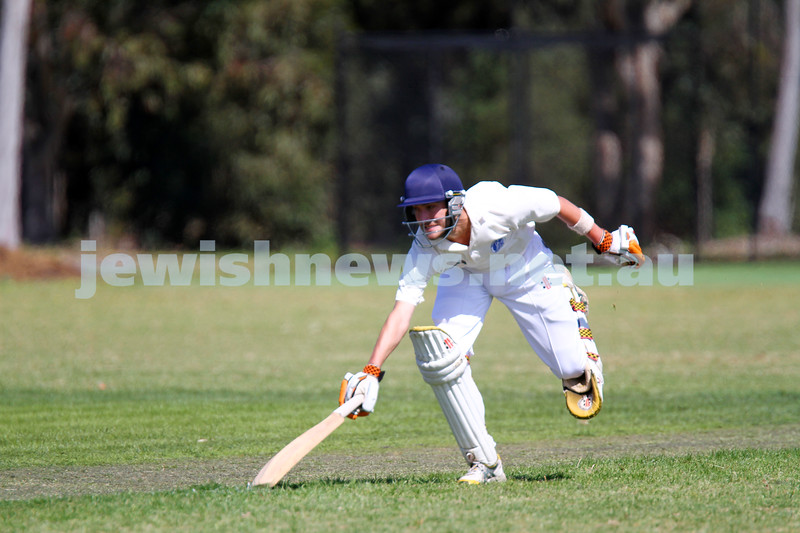 5-10-14. Maccabi AJAX Cricket First XI  5/170 def Power House all out 120 at David Mandie Oval. Mark Shnider 102 not out. Yossi Herbst 5/33. Aaron Fetter. Photo: Peter Haskin