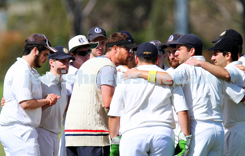 5-10-14. Maccabi AJAX Cricket First XI  5/170 def Power House all out 120 at David Mandie Oval. Mark Shnider 102 not out. Yossi Herbst 5/33. Head coach Paul Jubbr gives the team a rev up before they hit the field. Photo: Peter Haskin