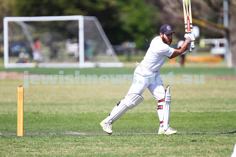 5-10-14. Maccabi AJAX Cricket First XI  5/170 def Power House all out 120 at David Mandie Oval. Mark Shnider 102 not out. Yossi Herbst 5/33. Eli Adelist . Photo: Peter Haskin