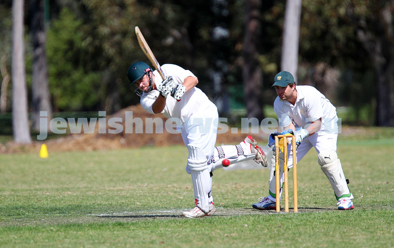 5-10-14. Maccabi AJAX Cricket First XI  5/170 def Power House all out 120 at David Mandie Oval. Mark Shnider 102 not out. Yossi Herbst 5/33. Another cracking shot from Mark Shnider. Photo: Peter Haskin