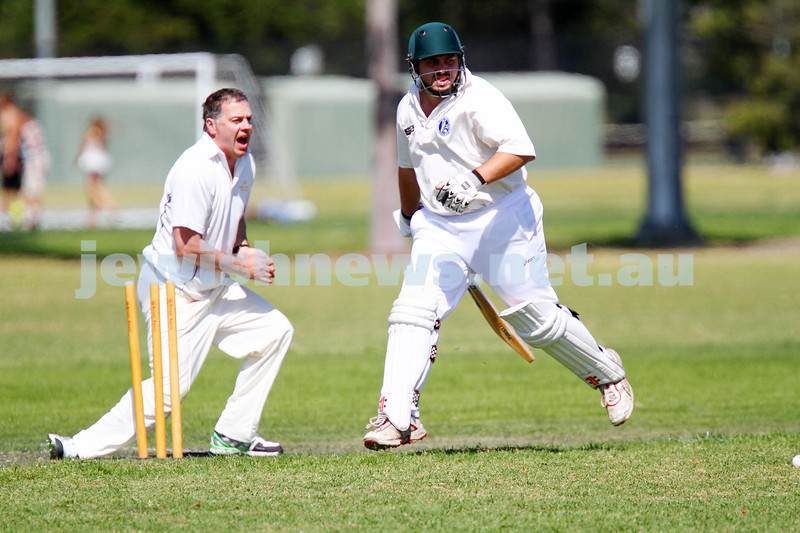 5-10-14. Maccabi AJAX Cricket First XI  5/170 def Power House all out 120 at David Mandie Oval. Mark Shnider 102 not out. Yossi Herbst 5/33. Photo: Peter Haskin