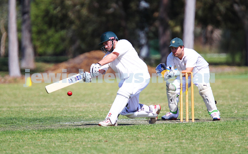 5-10-14. Maccabi AJAX Cricket First XI  5/170 def Power House all out 120 at David Mandie Oval. Mark Shnider 102 not out. Yossi Herbst 5/33. Mark Shnider. Photo: Peter Haskin
