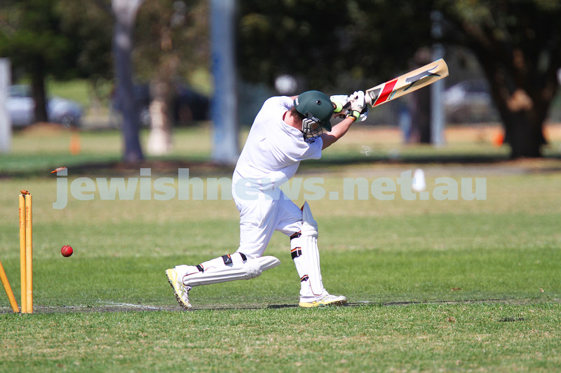 5-10-14. Maccabi AJAX Cricket First XI  5/170 def Power House all out 120 at David Mandie Oval. Mark Shnider 102 not out. Yossi Herbst 5/33. Daniel Sneider  bowled on the last ball of the innings. Photo: Peter Haskin