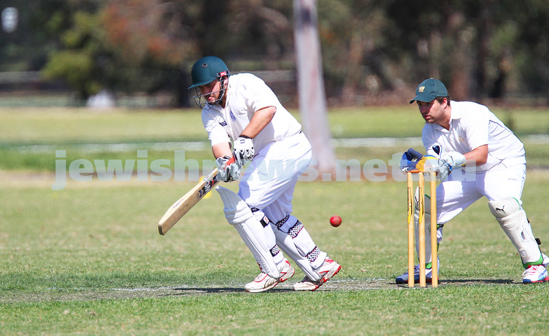 5-10-14. Maccabi AJAX Cricket First XI  5/170 def Power House all out 120 at David Mandie Oval. Mark Shnider 102 not out. Yossi Herbst 5/33. Mark Shnider pushing out a single for his 100. Photo: Peter Haskin