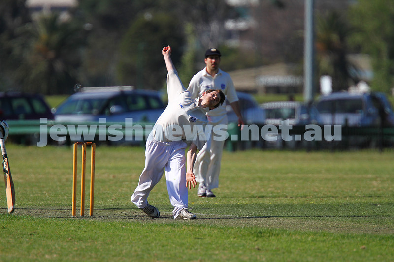 5-10-14. Maccabi AJAX Cricket First XI  5/170 def Power House all out 120 at David Mandie Oval. Mark Shnider 102 not out. Yossi Herbst 5/33. Simon Morawetz bowling. Photo: Peter Haskin