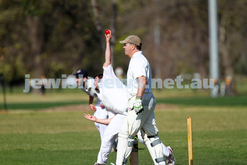 5-10-14. Maccabi AJAX Cricket First XI  5/170 def Power House all out 120 at David Mandie Oval. Mark Shnider 102 not out. Yossi Herbst 5/33. Meir New bowling. Photo: Peter Haskin