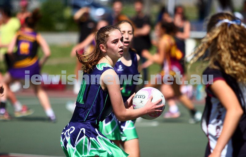 29-11-14. Netball U15 grand final at Duncam McKinnon. Maccabi AJAX U15 Tornados lost to St Anthonys 12-22. Photo: Peter Haskin