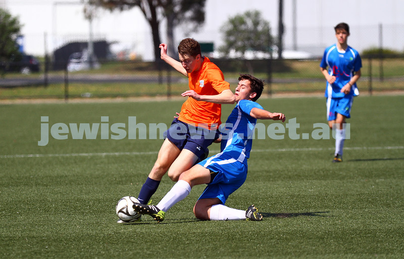 11-10-15. Maccabi Australia 90th Anniversary Insterstate Challenge, Victoria v NSW. Soccer. Kingston Heath Soccer Complex.  U16 Boys (Vic in orange). Photo: Peter Haskin