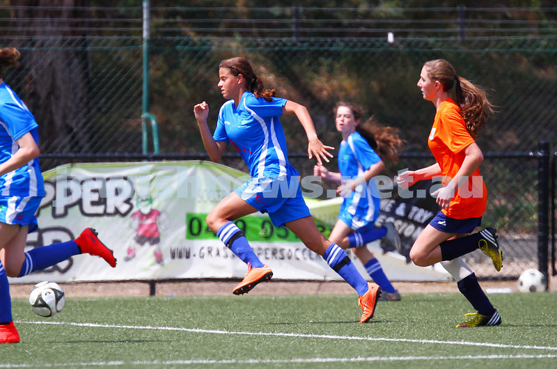 11-10-15. Maccabi Australia 90th Anniversary Insterstate Challenge, Victoria v NSW. Soccer. Kingston Heath Soccer Complex.  U16 Girls (Vic in orange). Photo: Peter Haskin