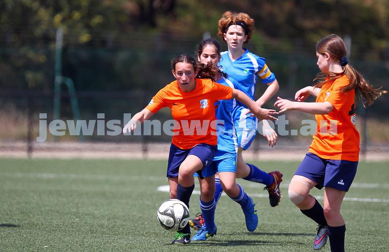 11-10-15. Maccabi Australia 90th Anniversary Insterstate Challenge, Victoria v NSW. Soccer. Kingston Heath Soccer Complex.  U16 Girls (Vic in orange). Photo: Peter Haskin