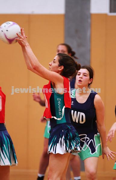 11-10-15. Maccabi Australia 90th Anniversary Insterstate Challenge. Bialik College. Victoria v NSW. Open Netball. Photo: Peter Haskin