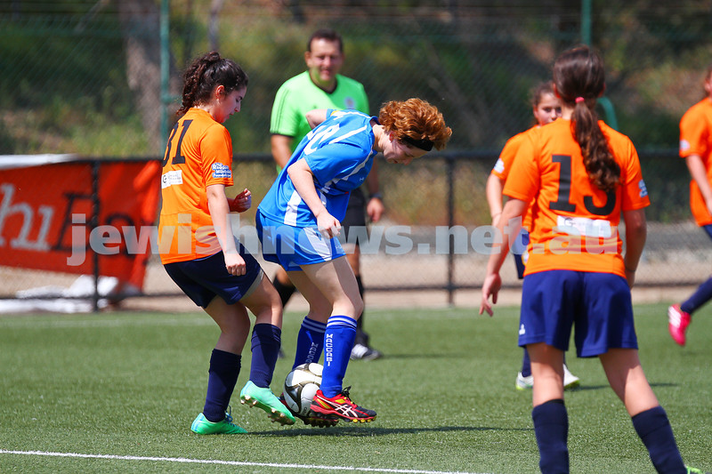 11-10-15. Maccabi Australia 90th Anniversary Insterstate Challenge. U 16 girls soccer. Victoria v NSW. Photo: Peter Haskin