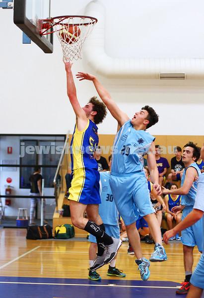 11-10-15. Maccabi Australia 90th Anniversary Insterstate Challenge. Bialik College. Victoria v NSW. U16 Boys Basketball. Photo: Peter Haskin