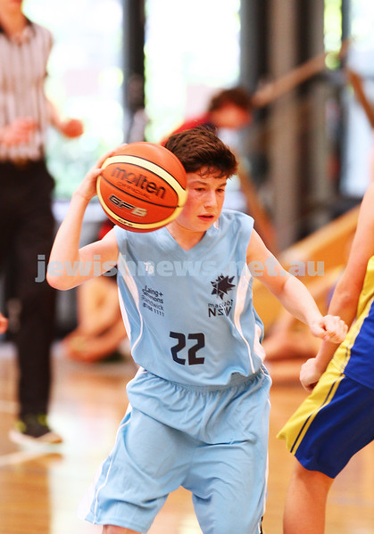 11-10-15. Maccabi Australia 90th Anniversary Insterstate Challenge. Bialik College. Victoria v NSW. U14 Boys Basketball. Photo: Peter Haskin