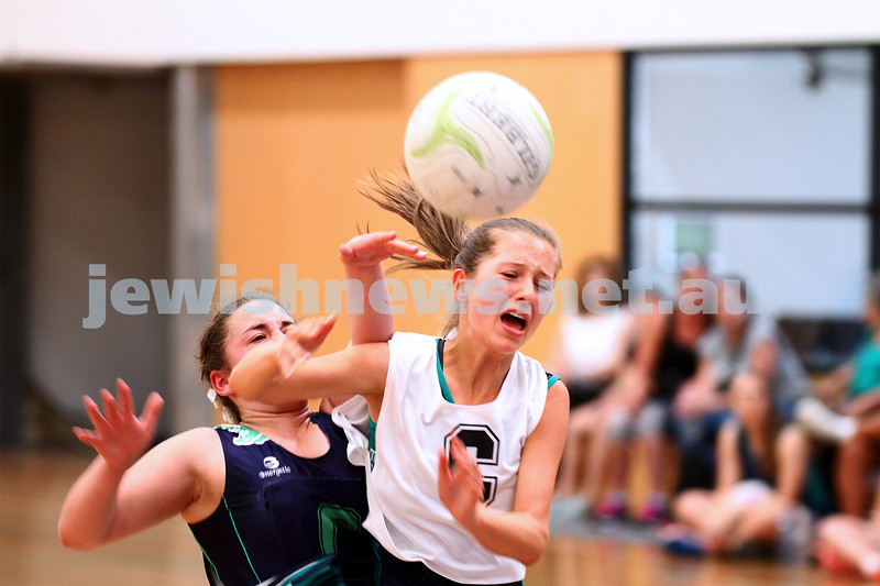 11-10-15. Maccabi Australia 90th Anniversary Insterstate Challenge. U 14 Girls netball. Victoria v NSW. Photo: Peter Haskin