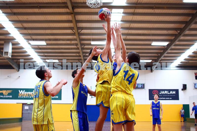 13-2-16. Basketball. Maccabi Under 14 Bulls lost to Timberwolves Giants 27 - 36. Photo: Peter Haskin