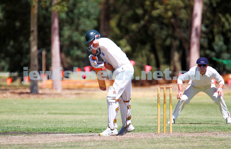 26-1-14. Maccabi Cricket First XI v Sth Yarra. Gary Smorgon Oval. Aaron Fetter. Photo: Peter Haskin