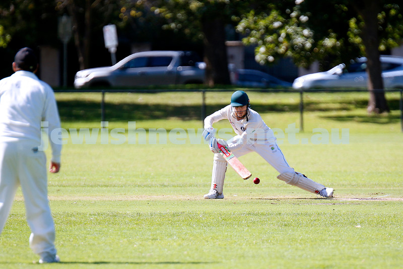 28-3-21. Maccabi AJAX First XI grand final. Defeated by Melbourne Cobras at Fawkner Park. Amir Meyerowitz batting. Photo: Peter Haskin