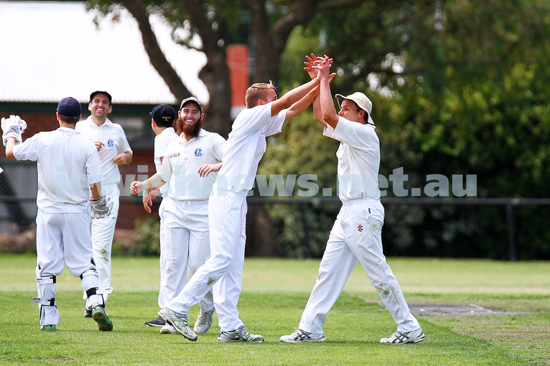 15-2-15. Maccabi Cricket First XI v Emmanual South Oakleigh.  Josh Jones (left) celebrates a wicket with his brother Benji. Photo: Peter Haskin