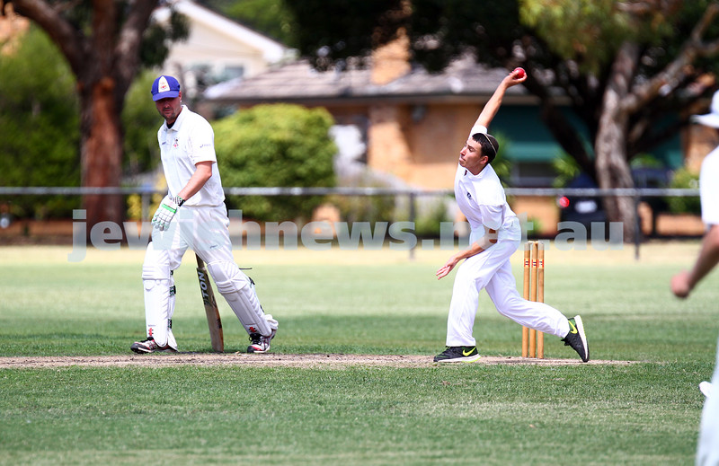 15-2-15. Maccabi Cricket First XI v Emmanual South Oakleigh. Nachum Paltiel bowling. Photo: Peter Haskin