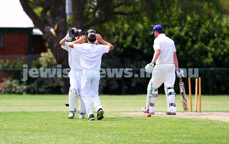 15-2-15. Maccabi Cricket First XI v Emmanual South Oakleigh. Ben Machlin (left) and Nachum Paltiel celebrate a wicket. Photo: Peter Haskin