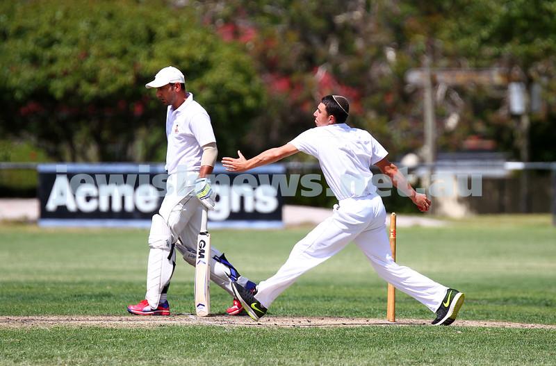 15-2-15. Maccabi Cricket First XI v Emmanual South Oakleigh. Nachum Paltiel bowling. Photo: Peter Haskin