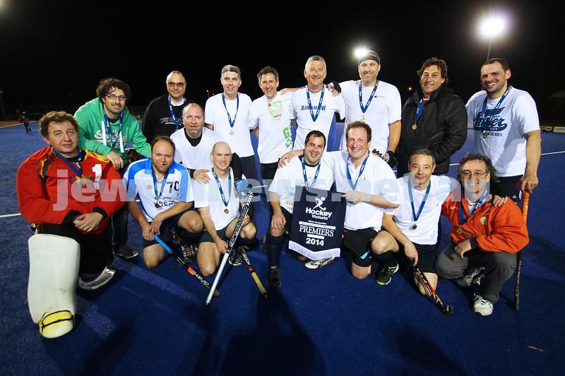 22-9-14. Maccabi Hockey Club Masters defeated Dandenong 3 - 0 to win the premiership. Photo: Peter Haskin