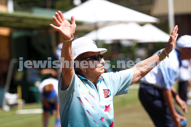 12-10-14. Launch of the Maccabi Ajax Lawn Bowls Club. Caulfield Park Bowls. Esther Edelsten. Photo: Peter Haskin.