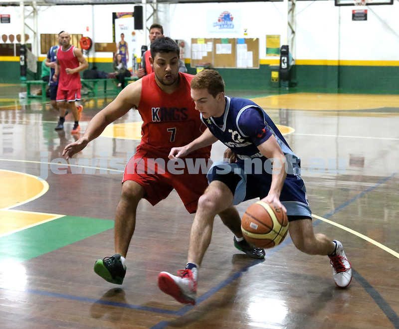 Basketball - Maccabi Kings vs Throwback Cheetahs. Kings lost 62 -32. Zac Ehrenfeld charges forward with the ball.