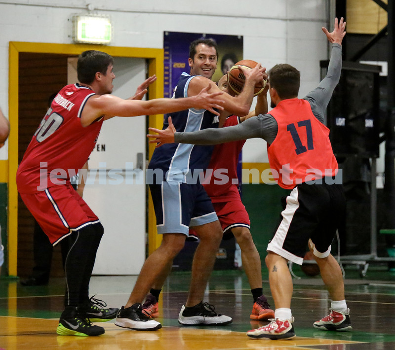 Basketball - Maccabi Kings vs Throwback Cheetahs. Kings lost 62 -32. Daniel Kresner grapples with the ball.