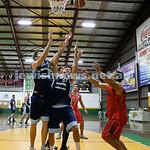 Basketball - Maccabi Kings vs Throwback Cheetahs. Kings lost 62 -32. Ricky Clennar & Brad Nissen go for the ball.