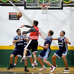 Basketball - Maccabi Kings vs Throwback Cheetahs. Kings lost 62 -32. Kings in defense mode. L-R Michael Wagenheim, Desi Kohn, Zac Ehrenfeld, Daniel Kresner.