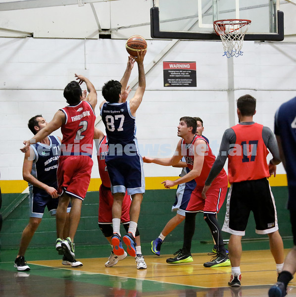 Basketball - Maccabi Kings vs Throwback Cheetahs. Kings lost 62 -32. Brad Nissen shoots a basket.