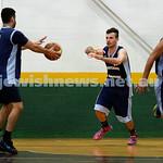Basketball - Maccabi Kings vs Throwback Cheetahs. Kings lost 62 -32. Keyan Kramer passes the ball to Michael Wagenheim.