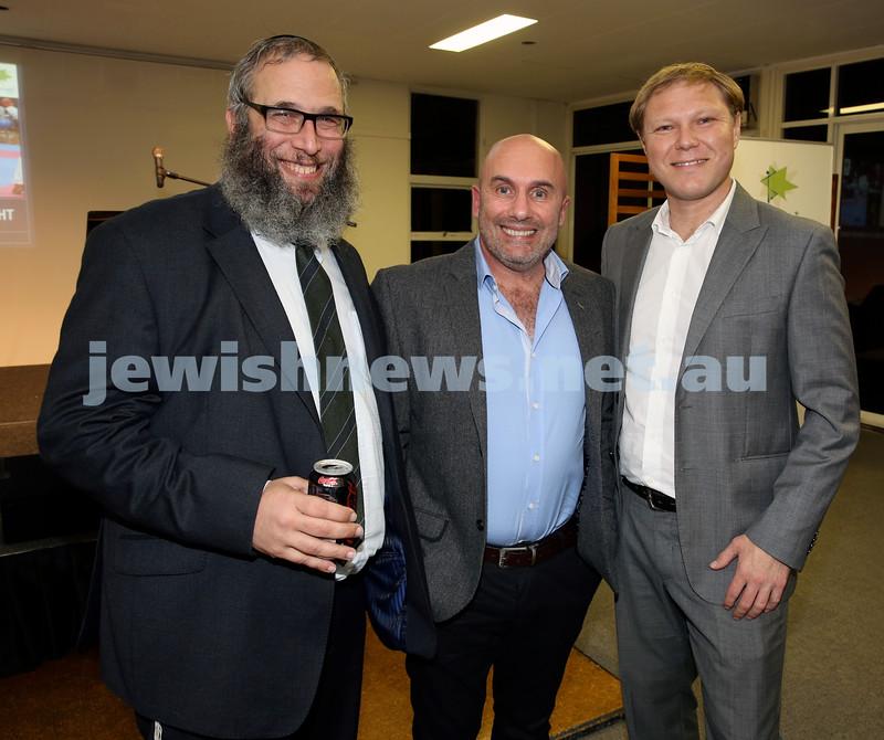 2015 Maccabi NSW Annual Jewish Sports Awards. Rabbi Mendel Kastel, Danny Hochberg, Leon Goltsman.