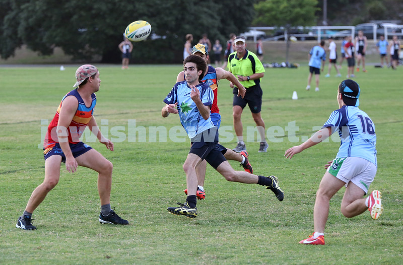 Touch Football. Maccabi Mac Touch vs Rat Pack at Queens Park. David Weiner (L) and Mendel Gestetner run to the ball.