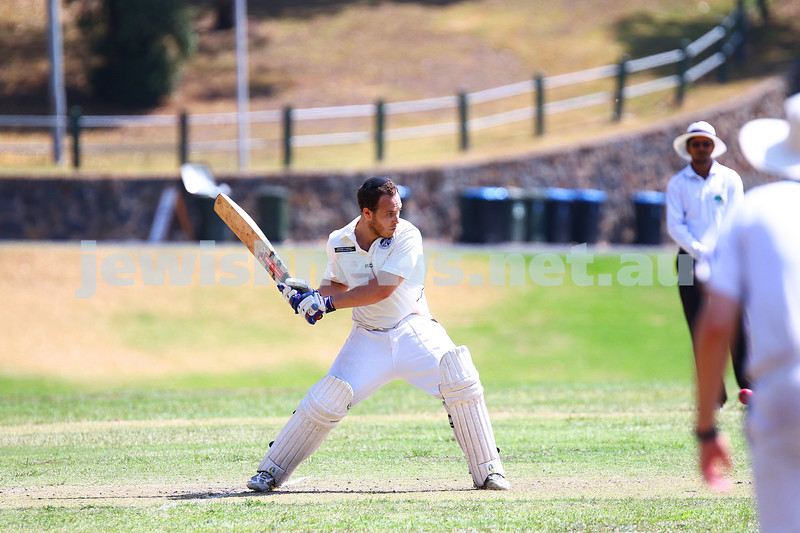 6-3-16. Maccabi Cricket Second XI batting during their semi final win over South Yarra at Como Park.  Photo: Peter Haskin