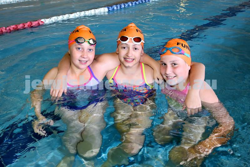 Maccabi Swimathon at Moriah College pool. Sappiri Haikin, Gia Berman, Tayla Hechter. Pic Noel Kessel.