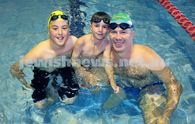 Maccabi Swimathon at Moriah College pool. Noah Blumberg, Anthony Goodridge, Jayden Finucane. Pic Noel Kessel.