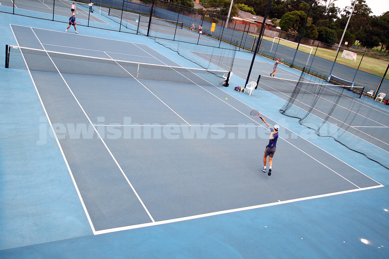 Leon Haskin Tennis Centre. Maccabi Tennis. Arthur Kaganovitch fires off a forehand. photo: peter haskin