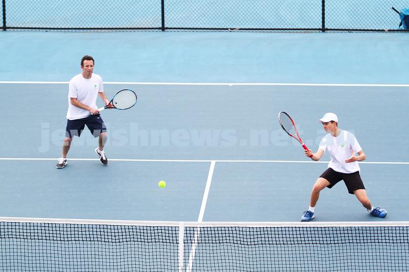29-8-15. Maccabi Tennis. Semi final played at the Leon Haskin. Joel Fredman (left)/Arthur Kaganovitch. Photo: Peter Haskin