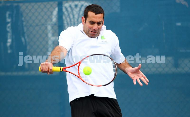 29-8-15. Maccabi Tennis. Semi final v Wellington. Asaf Nagar. Photo: Peter Haskin