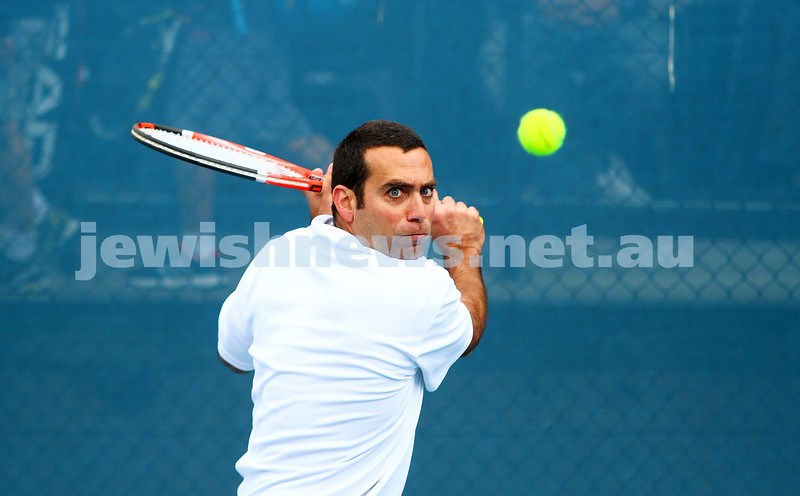 29-8-15. Maccabi Tennis. Semi final v Wellington. Asaf Nagar. Photo: Peter Haskin