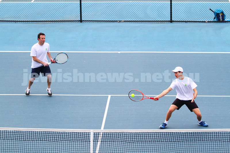 29-8-15. Maccabi Tennis. Semi final played at the Leon Haskin. Joel Fredman (left)/Arthur Kaganovitch. Photo: Peter Haskin