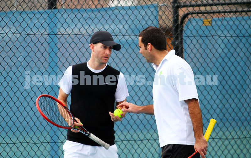 29-8-15. Maccabi Tennis. Semi final v Wellington. Asaf Drori (left), Asaf Nagar. Photo: Peter Haskin